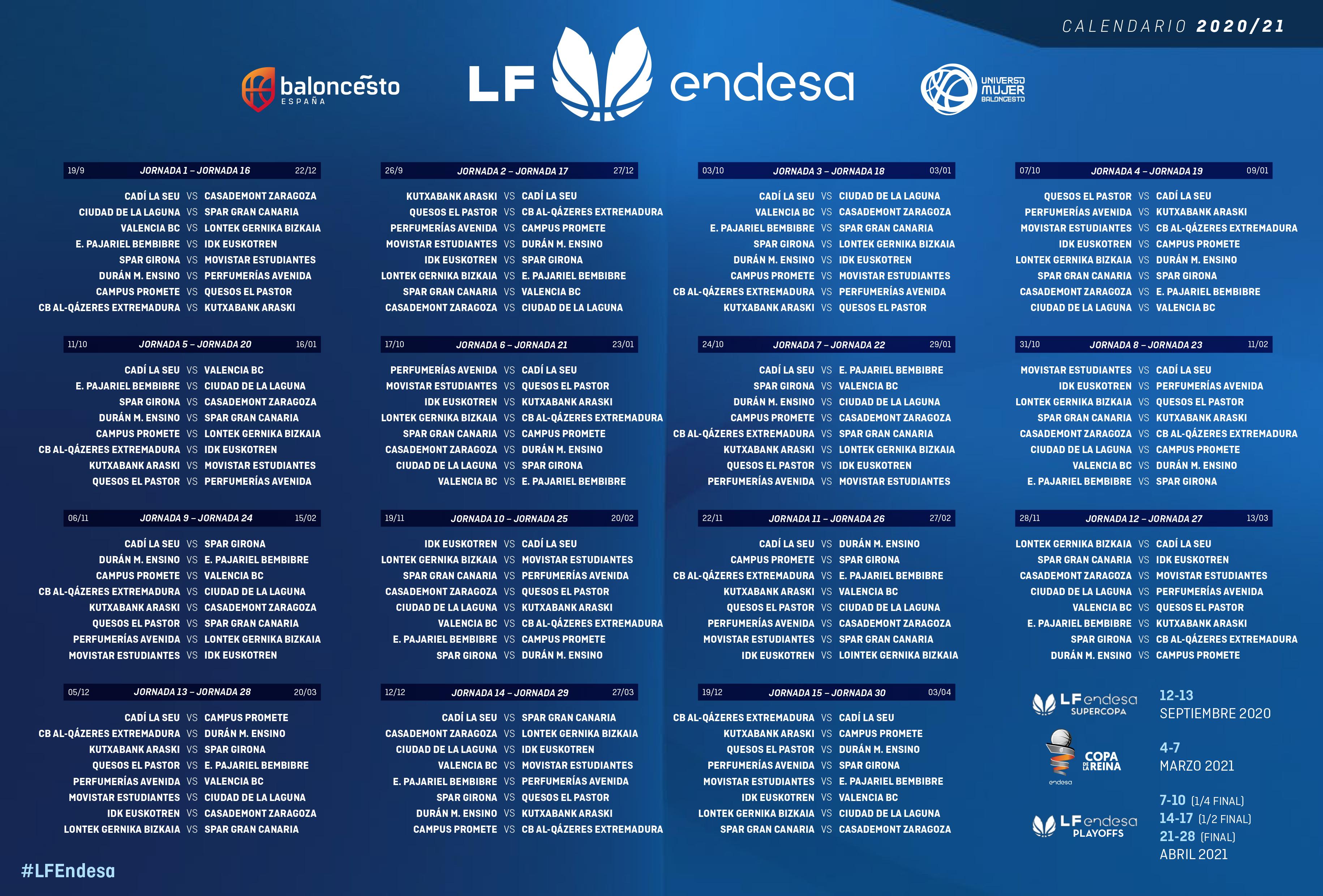 Calendario Liga Femenina Endesa 2020-2021